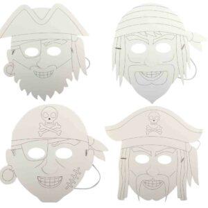 4 masques Pirate en papier à colorier décorer Bobidibou anniversaire enfant achat matériel décoration France 01
