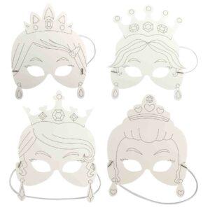 4 masques Princesse en papier à colorier décorer Bobidibou anniversaire enfant achat matériel décoration France 01