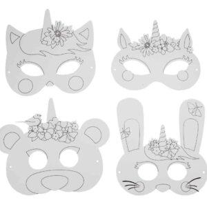 4 masques licorne en papier à colorier décorer Bobidibou anniversaire enfant achat matériel décoration France 01