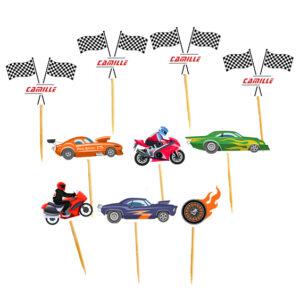 Mini toppers voiture et moto kart personnalisés anniversaire mixte mini pic decoration gateau achat matériel décoration baby shower Bobidibou 01 pays de gex France
