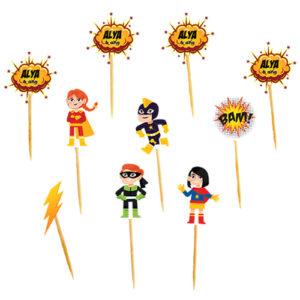 Mini toppers Super Héros personnalisé Bobidibou anniversaire enfant achat matériel décoration événement France.png