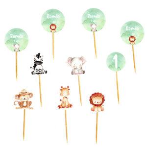 Mini toppers animaux jungle aquarelle Bobidibou anniversaire enfant achat matériel décoration France