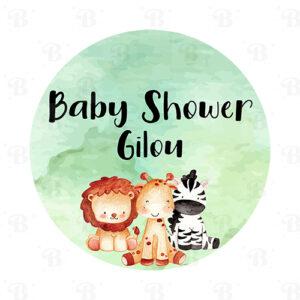 Stickers Baby Shower jungle animaux enfant aquarelle Bobidibou achat matériel décoration France