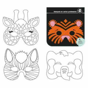 12 masques Animaux jungle en papier à colorier décorer Bobidibou anniversaire enfant achat matériel décoration France 01