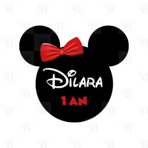 Stickers minnie personnalisé Bobidibou anniversaire enfant décoration achat matériel France
